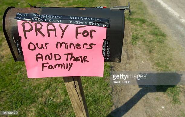 A sign for prayer posted on a mailbox near the entrance to the Upper Big Branch coal mine owned by Massey Energy Company and operated by Performance...