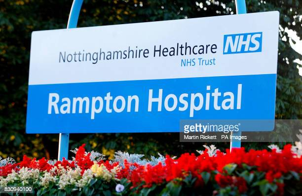 Sign for Rampton Hospital Woodbeck Nottinghamshire where 28yearold school caretaker Ian Huntley is undergoing psychiatric assessment He was charged...