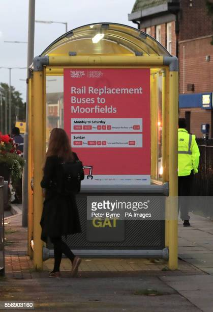A sign for replacement bus services outside Hunts Cross station in Liverpool as rail guards take strike action Members of the RMT union are staging a...