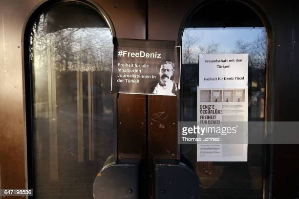 A sign for the arrested journalist Deniz Yuecel stick at the Festhalle Bad Rotenfels hall after a planned rally for expatriate Turks in favor of the...
