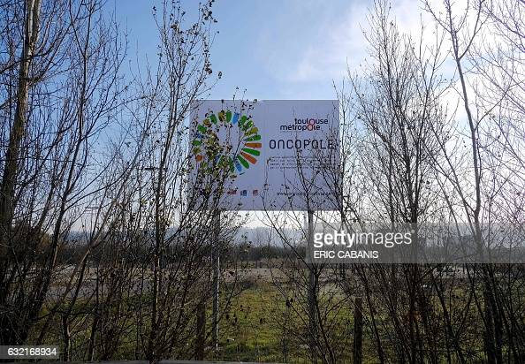A sign for the cancer research centre IUCT Oncopole that is partly situated on the site of the former chemical factory AZF is pictured in Toulouse...