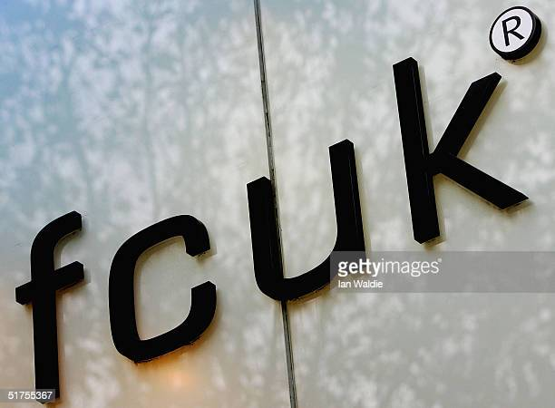 A sign for the controversial FCUK brand logo is displayed at a French Connection department store November 17 2004 in London Shares in the clothing...