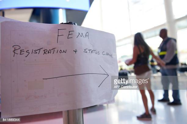 A sign for the Federal Emergency Management Agency registration is seen at the George R Brown Convention Center which has been a shelter for evacuees...