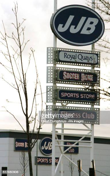 A sign for the JJB store at the Royal Quays in North Shields the sports retailer has said demand for replica football products helped it achieve a...
