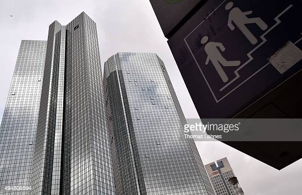 A sign for the metro stand in front of the headquarters of German bank Deutsche Bank on October 29 2015 in Frankfurt Germany Deutsche Bank announced...