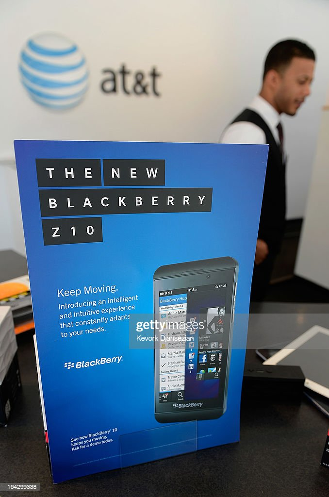 A sign for the new BlackBerry Z10 smartphone is displayed at an AT&T store after it went on sale in the U.S. on March 22, 2013 in Beverly Hills, California. BlackBerry made a major shift in design by swapping its signature keyboard for a full touch-screen. The company is expected to launch its Q10 smartphone in the spring, incorporating both a touch-screen and keyboard.