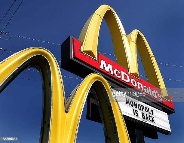 A sign for the new Monopoly game is seen outside a McDonald's restaurant October 5 2005 in Niles Illinois McDonald's partnered with Best Buy has...