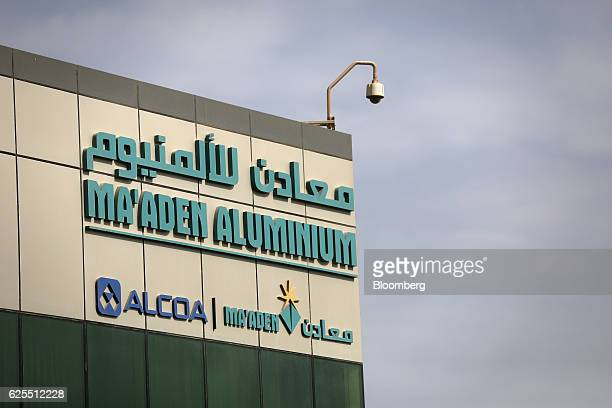 A sign for the Saudi Arabian Mining Co and its partners sits on the exterior of a building at the Ras Al Khair Industrial City complex in Ras Al...