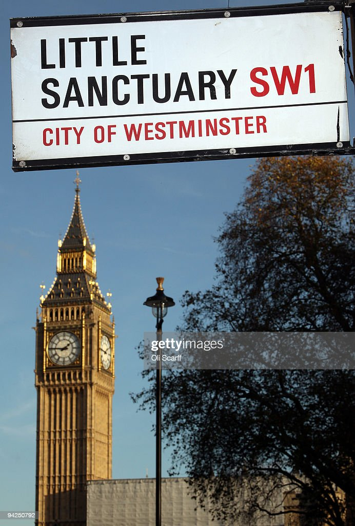 A sign for the street 'Little Sanctuary' is seen in front of Houses of Parliament on December 10, 2009 in London, England. Further details of the expense claims submitted by MPs for the period 2008-09 have been released by Parliament today.