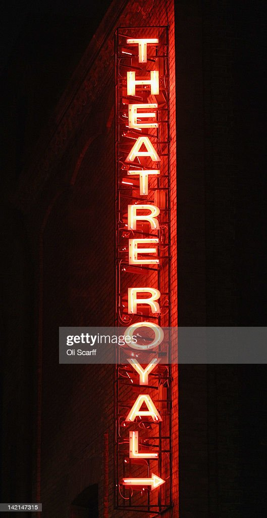 A sign for the Theatre Royal on Drury Lane illuminated at night on March 29, 2012 in London, England.