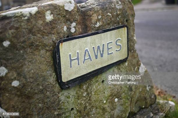 A sign for the Yorkshire village of Hawes which is trying to make itself the most selfsufficient place in Britain is seen on November 13 2017 in...
