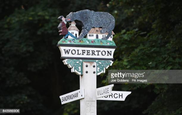A sign for Wolferton where a light aircraft crashed on marshland in Norfolk on Monday