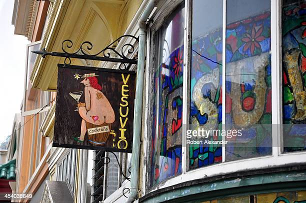 A sign hangs in front of Vesuvio Bar in San Francisco's North Beach community popular among members of the Beat Generation of the 1950s including...
