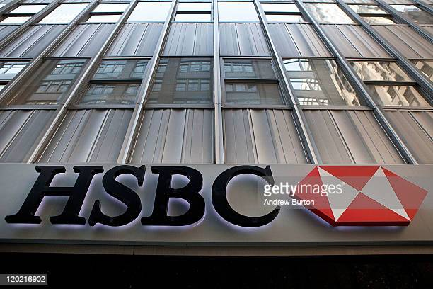 A sign hangs on a HSBC Bank branch at 110 William Street August 1 2011 in New York City According to reports HSBC will eliminate 30000 jobs worldwide...