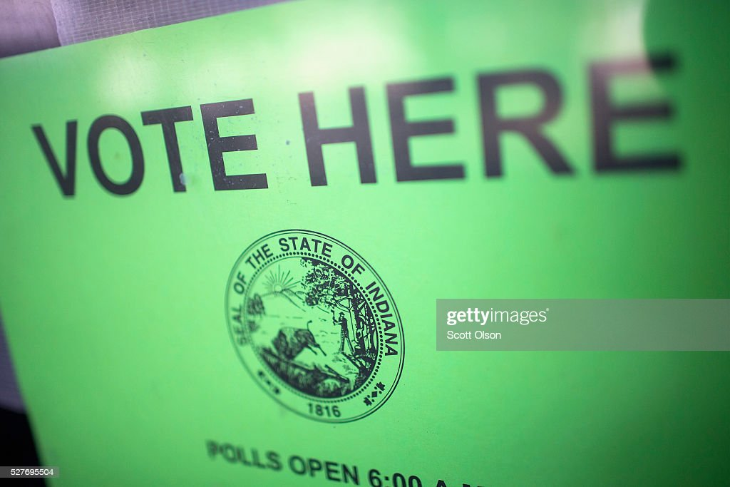 A sign hangs on a polling place door on May 3, 2016 in Whiting, Indiana. Indiana voters are casting ballots today to decide Republican and Democrat presidential nominees.