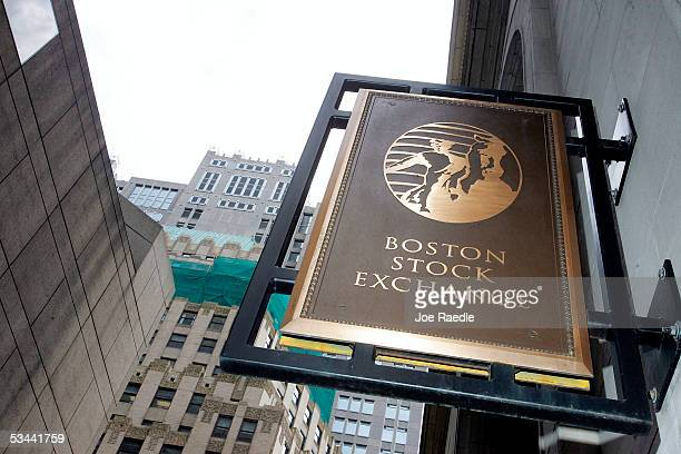 A sign hangs on the Boston Stock Exchange building August 19 2005 in Boston Massachusetts Fidelity Investments and several major Wall Street firms...