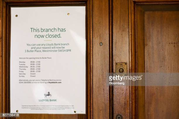 A sign hangs on the door of a closed branch of a Lloyds bank branch a unit of Lloyds Banking Group Plc in London UK on Wednesday May 31 2017 Lloyds...