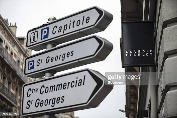 A sign hangs outside a Claudie Pierlot luxury clothing store operated by SMCP Group in Toulouse France on Wednesday Feb 10 2016 Shandong Ruyi Group...