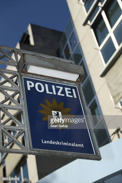 A sign hangs outside the headquarters of the Berlin state crime bureau on May 18 2017 in Berlin Germany Police are investigating a possible coverup...