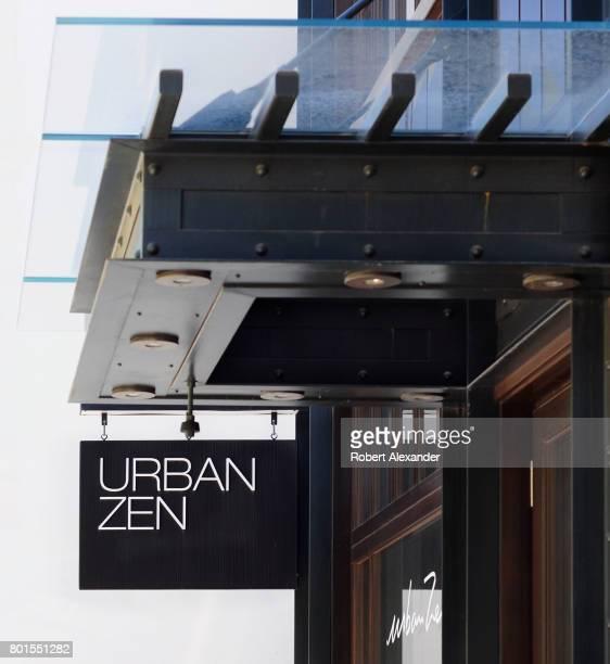 A sign hangs over the entrance to Donna Karan's Urban Zen shop in Aspen Colorado
