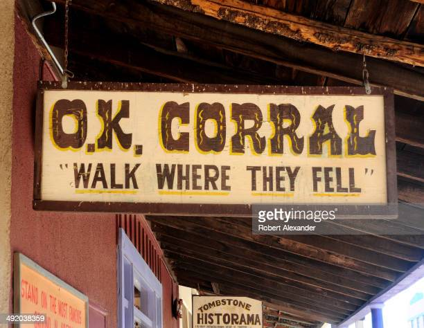 A sign hangs over the entrance to the site of recreated gunfights in historic Tombstone Arizona known as 'The Town Too Tough to Die' The town...