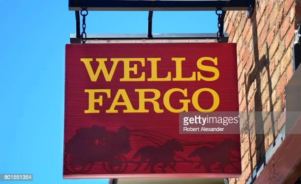 A sign hangs over the entrance to the Wells Fargo Bank in Aspen Colorado