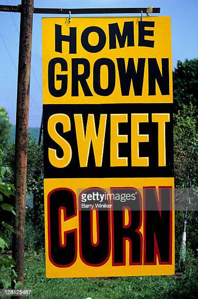 sign, home grown sweet corn
