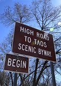 A sign identifies the beginning of the High Road to Taos on February 27 2016 The scenic 56mile route winds between Nambe and Taos New Mexico