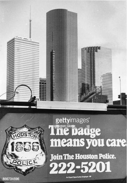 A sign in front of police headquarts in Houston Dec 6 1983