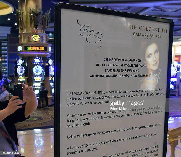 A sign in front of The Colosseum at Caesars Palace displays a message announcing show cancellations for singer Celine Dion following the death of her...