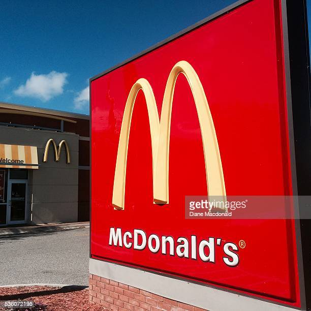 Sign in front the McDonald's restaurant at Marsh Landing Parkway Jacksonville Beach Florida USA