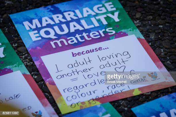 A sign in support of same sex marriage rights at Sydney Town Hall on August 6 2017 in Sydney Australia The federal government is under increasing...