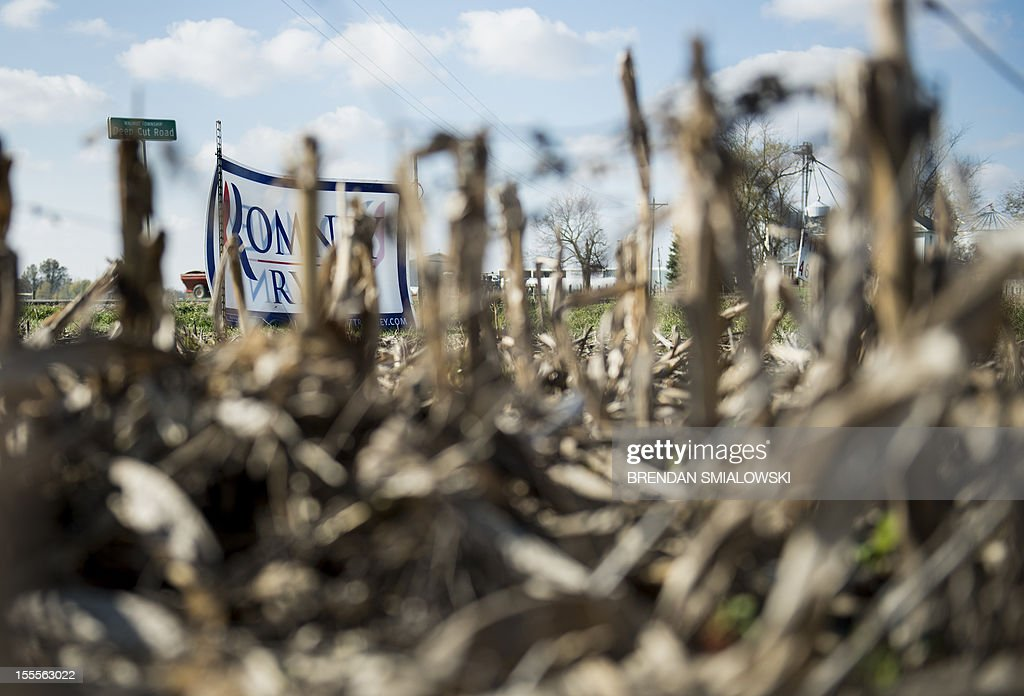 A sign in support of US Republican presidential candidate Mitt Romney and running mate Paul Ryan is seen through old corn stalks on farmland on November 5, 2012 in Millersport, Ohio. Ohio, a battleground state which no Republican has won the US presidency without its electoral votes, is closely contested between US President Barack Obama and Mitt Romney. AFP PHOTO/Brendan SMIALOWSKI