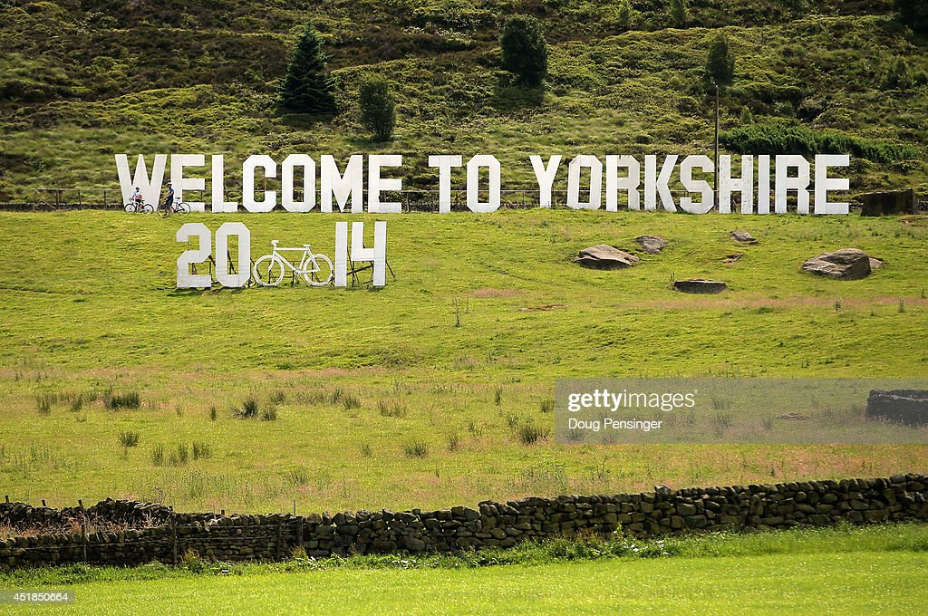 A sign in the field welcomes the riders to Yorkshire during stage two of the 2014 Le Tour de France from York to Sheffield on July 6 2014 in...