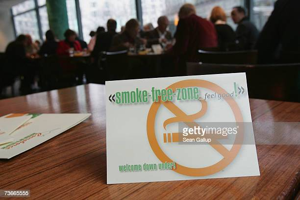 A sign indicates a nosmoking area in a restaurant March 22 2007 in Berlin Germany The governors of Germany's 16 states are meeting in Berlin to...