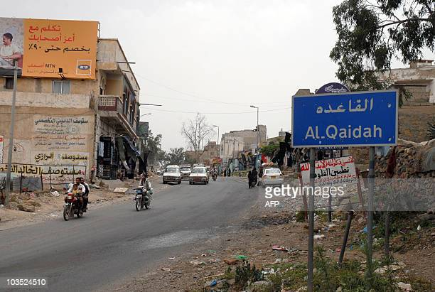 A sign indicates the entramce to the Yemeni town of AlQaeda 220 kms southwest of the capital Sanaa on July 3 2010 Far from the Pakistani mountains...