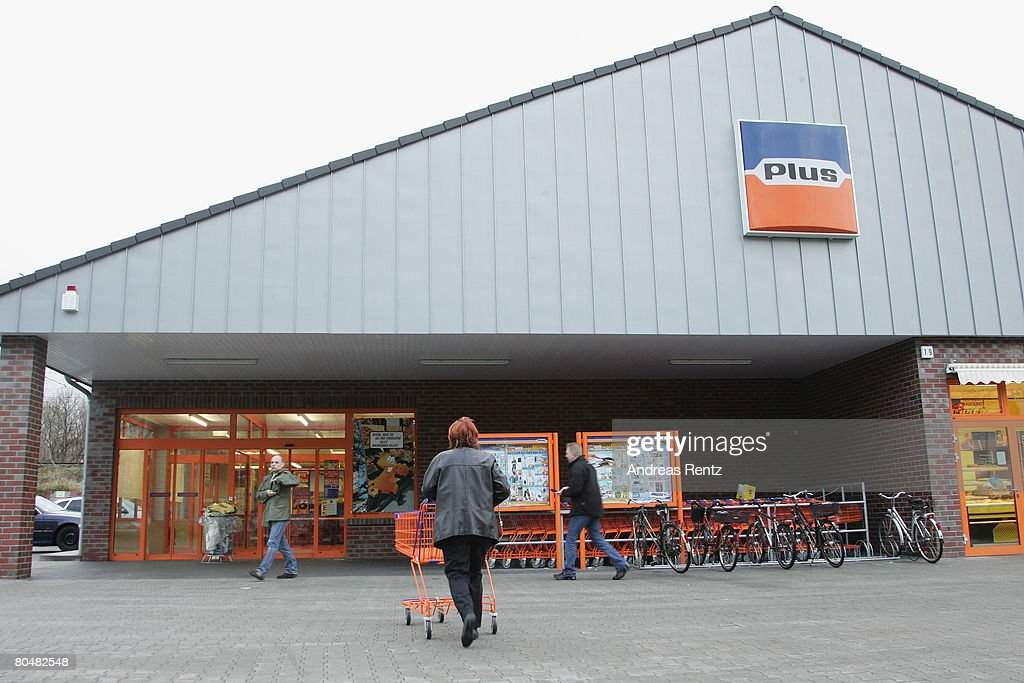 A sign indicates the location of a supermarket of German discount grocery chain Plus on April 2 2008 in Berlin Germany According to an investigation...