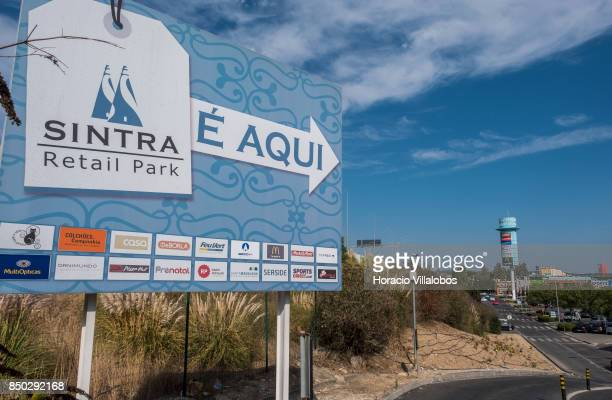 A sign indicates the way to Sintra Retail Park one of four commercial centers owned by The Blackstone Group in Lisbon region on September 20 2017 in...
