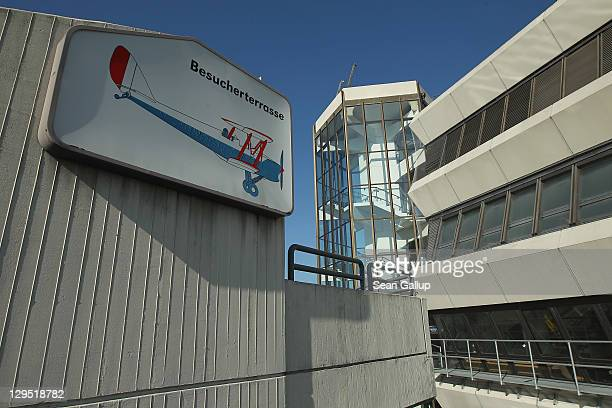 A sign indictaes the visitors' terrace at the main terminal at Tegel Airport on October 17 2011 in Berlin Germany Tegel which first went into...