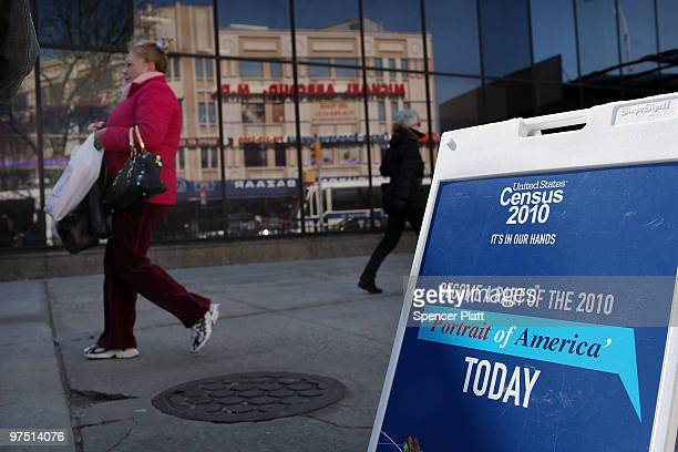 A sign informs ethnic Russians of the upcoming census count in the Russian enclave of Brighton Beach March 7 2010 in the Brooklyn borough of New York...