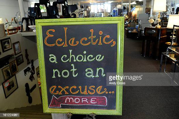 A sign inside of the Home   Again furniture store at 1959 S  Broadway owned  by Thom Persson  Saturday morning  Andy Cross  The Denver Post. Thom Persson Stock Photos and Pictures   Getty Images