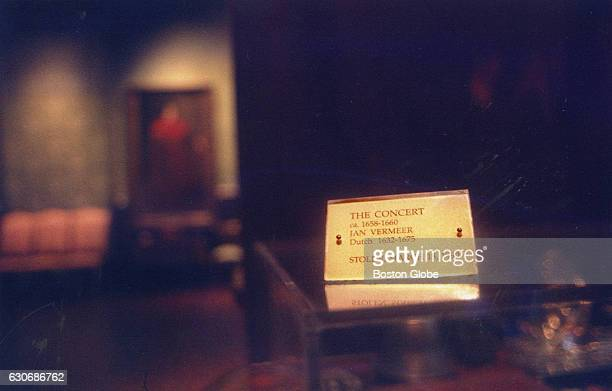 A sign is all that remains of 'The Concert' a painting by Jan Vermeer in the Dutch Room at the Isabella Stewart Gardner Museum in Boston on Dec 15...