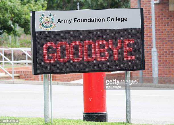 A sign is displayed at the entrance to the barracks on the day Junior soldiers graduate from the Army Foundation College on August 13 2015 in...