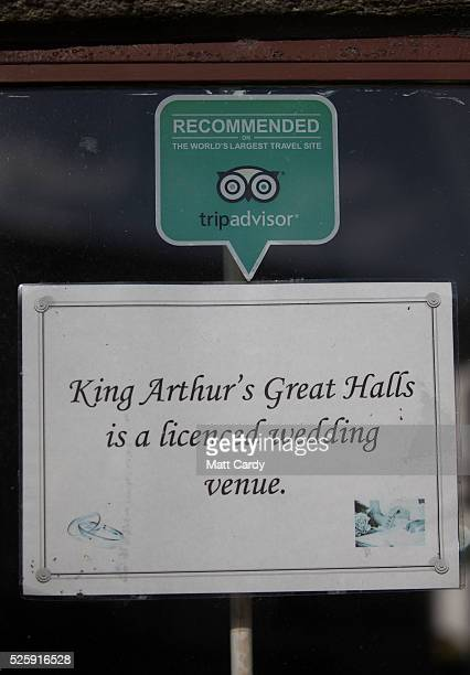 A sign is displayed in a window in Tintagel on April 27 2016 in Cornwall England The English Heritage managed site and the nearby town have long been...