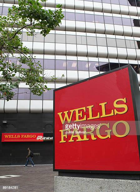 A sign is displayed in front of a Wells Fargo Bank office July 22 2009 in Oakland California Wells Fargo reported an 81 percent increase in second...