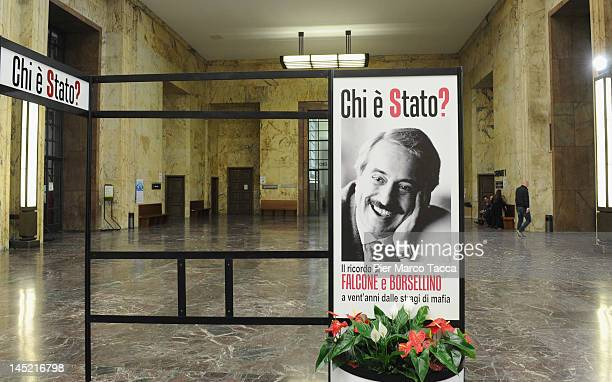 A sign is displayed in memory of magristrates Giovanni Falcone and Paolo Borsellino on the 20th Anniversary of Capaci Mafia attack on May 23 2012 in...