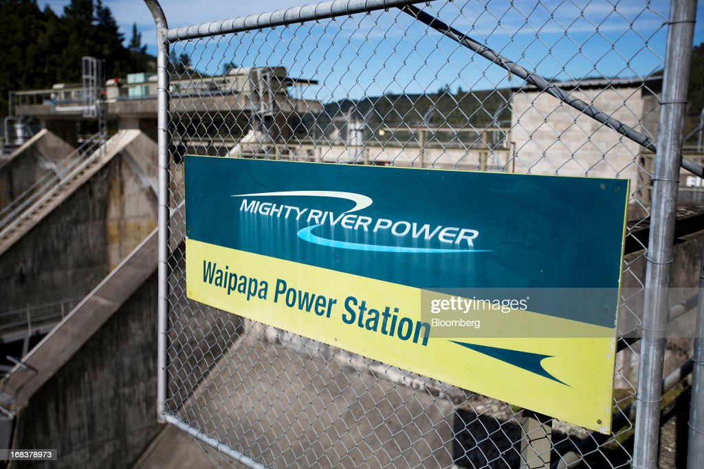 A sign is displayed on a fence at the Waipapa hydroelectric power station, operated by Mighty River Power Ltd., north of Mangakino, New Zealand, on Wednesday, May 8, 2013. New Zealand raised NZ$1.7 billion ($1.4 billion) from the sale of Mighty River shares as the nation's biggest initial public offering closed at a price at the lower end of the indicative range. Photographer: Brendon O'Hagan/Bloomberg via Getty Images