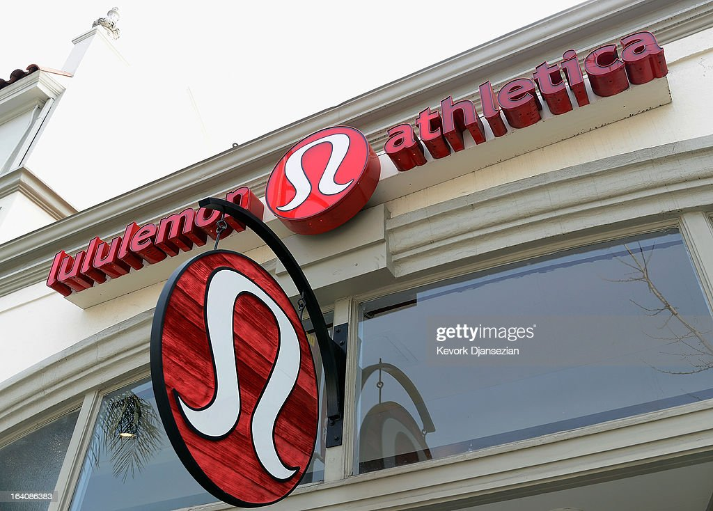 A sign is displayed on a Lululemon Athletica Inc store on March 19 2013 in Pasadena California Lululemon removed some of its popular pants from...