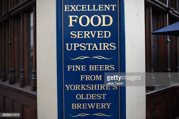 A sign is displayed on the Angel in the Fields pub in Marylebone is pictured on February 16 2017 in London England The Association for Licensed...