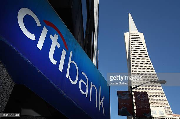 A sign is displayed on the exterior of a Citibank branch office near the Transamerica Pyramid on January 18 2011 in San Francisco California...